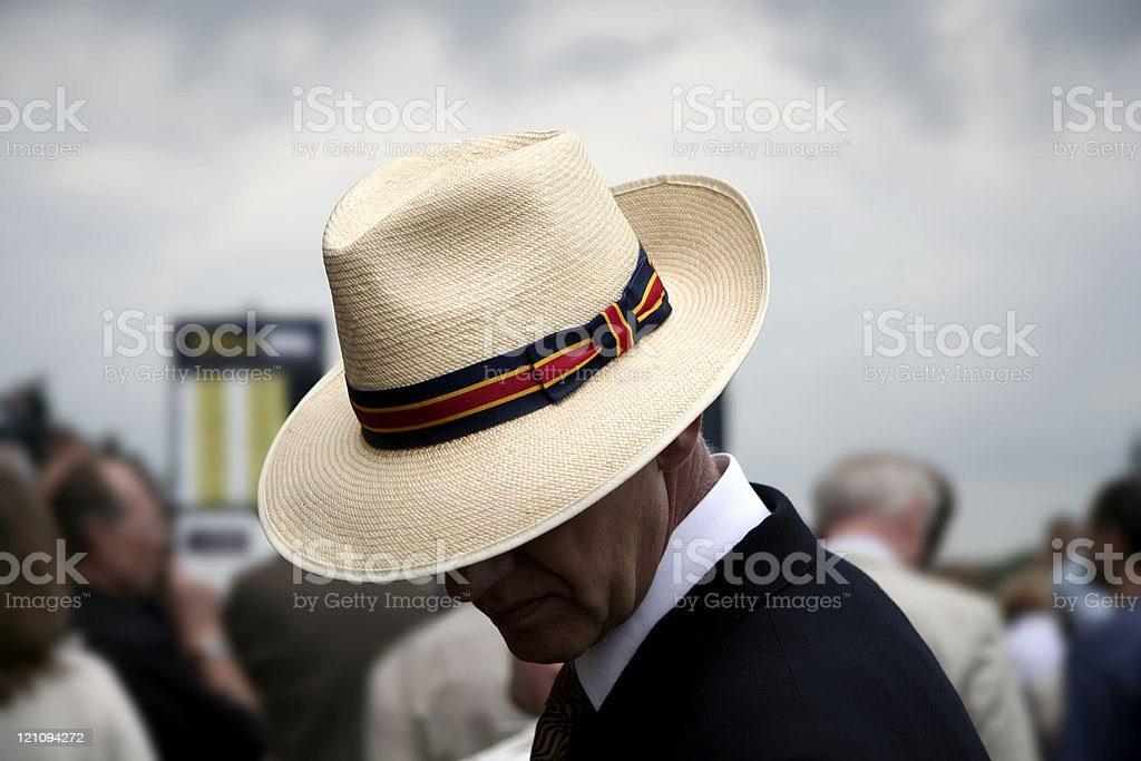 Punter with panama hat stock photo