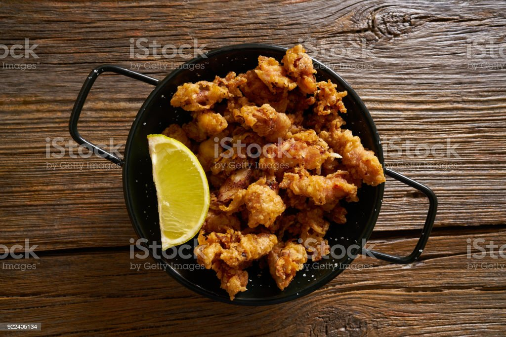 Puntilla Tapas fried little breaded squid stock photo