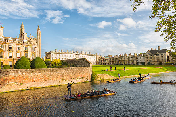 punting in cambridge - cambridge university stock photos and pictures