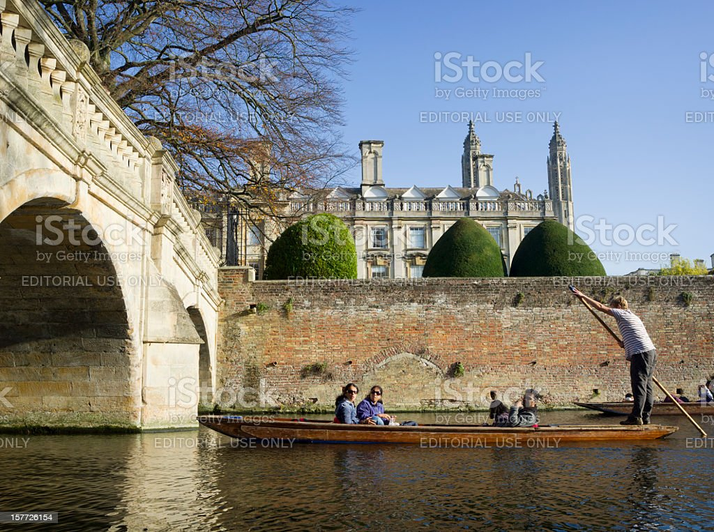 Punting on River Cam in Cambridge, England royalty-free stock photo