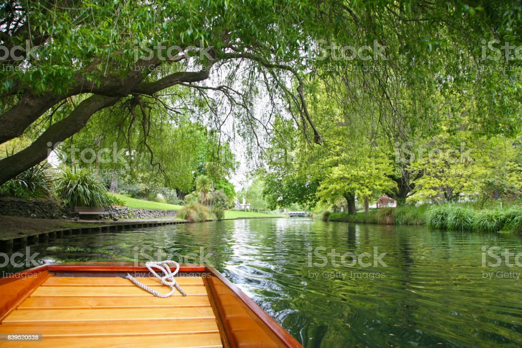 Punting on the River Avon in Christchurch stock photo