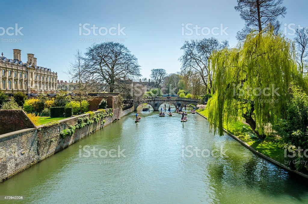 Punting on the River Cam, Cambridge stock photo