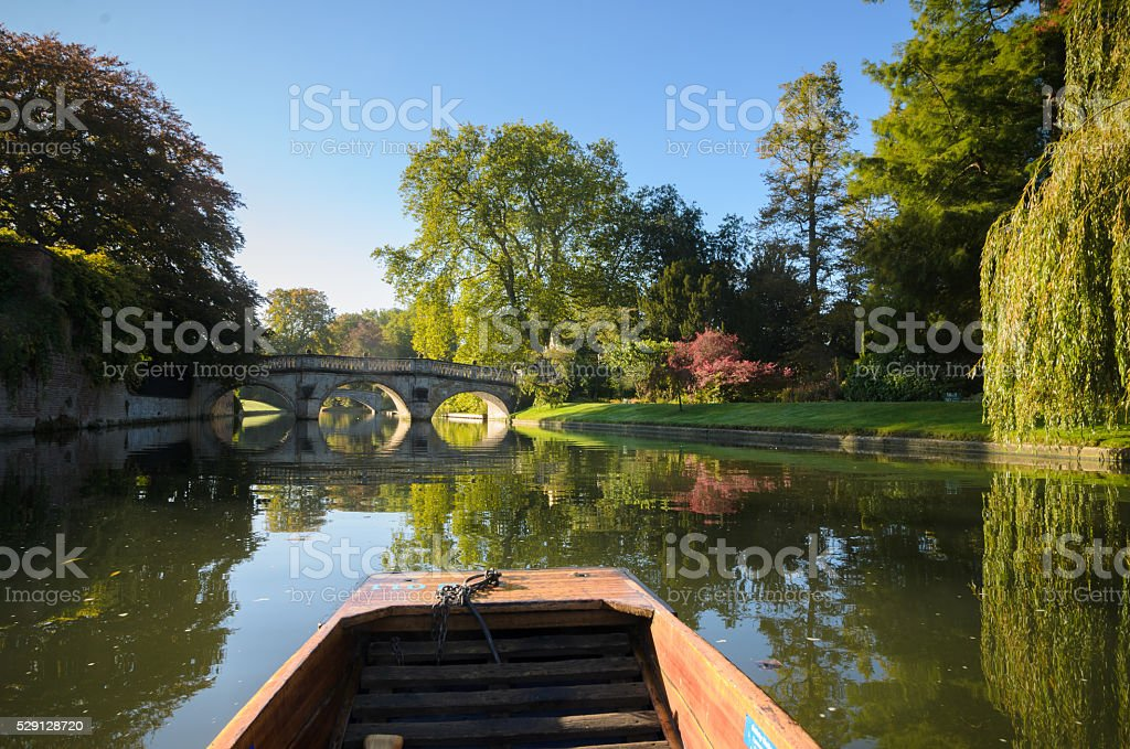 Punting on the river Cam in Cambridge stock photo