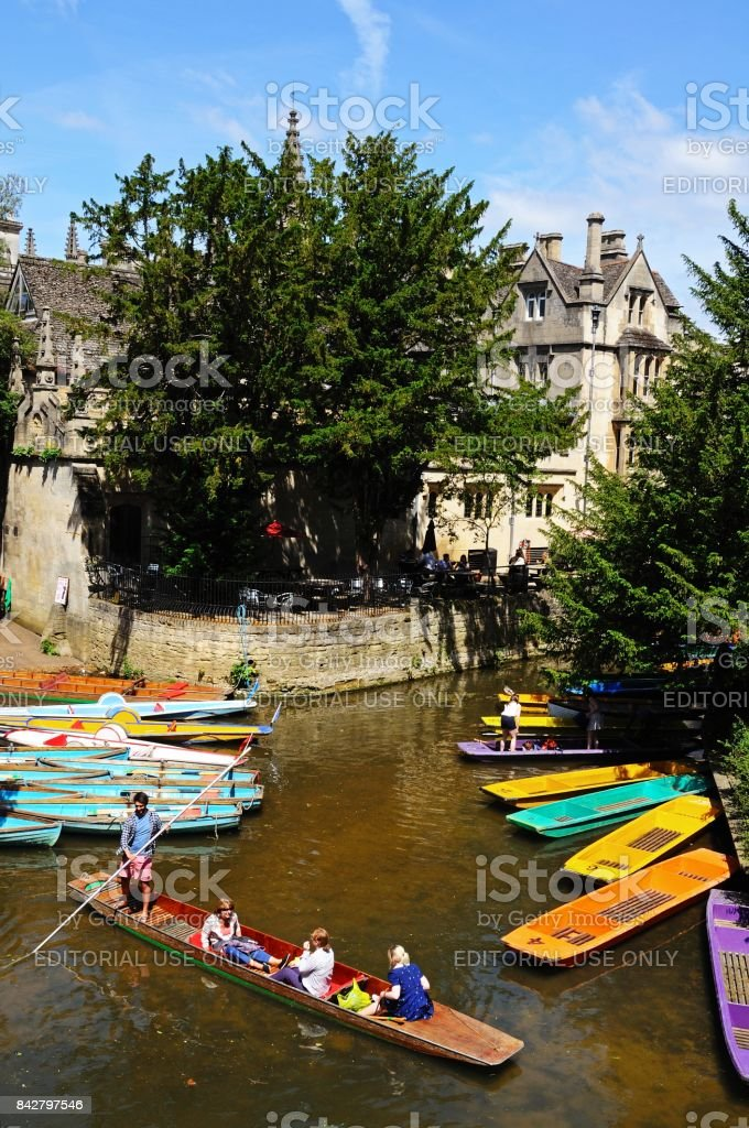 Punts on the River Cherwell, Oxford. stock photo