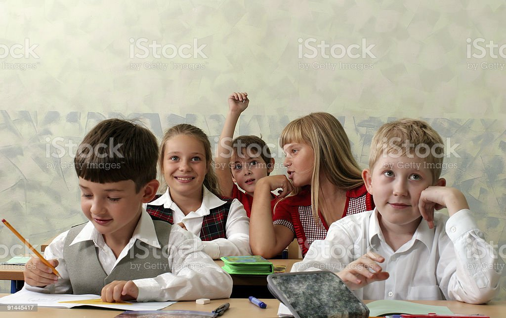 Pupils at classroom royalty-free stock photo