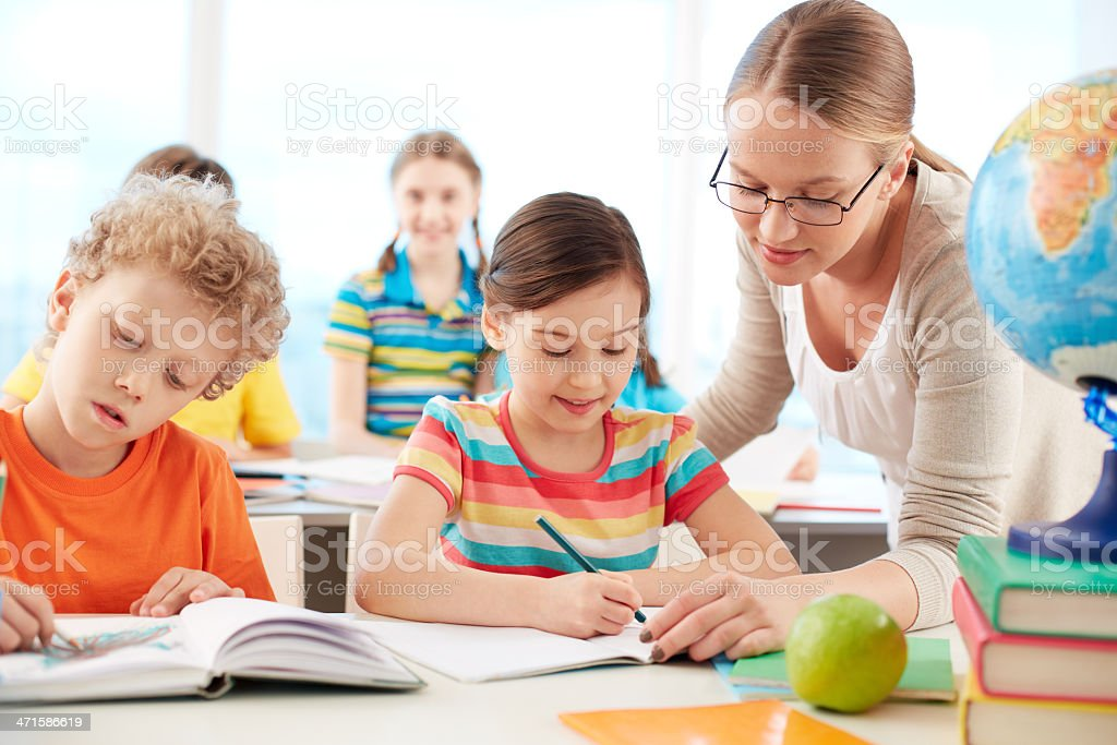 Pupils at lesson royalty-free stock photo