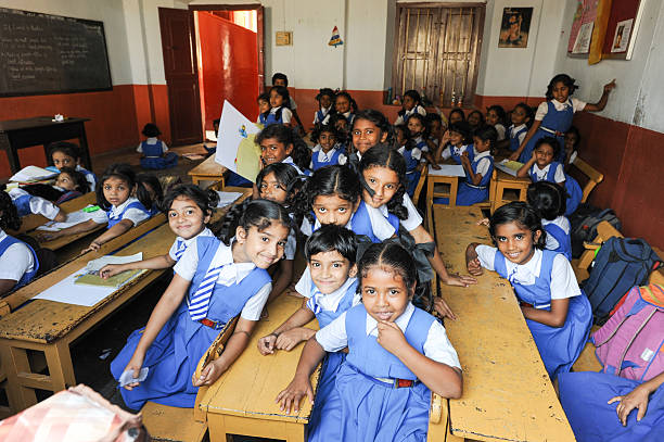 Pupils in classroom at them school of Fort Cochin stock photo