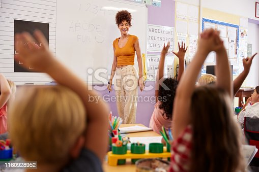 1160928955 istock photo Pupils Raising Hands To Answer Question In Elementary School Maths Lesson 1160928952