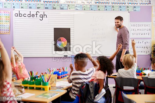istock Pupils Raising Hands To Answer Question In Elementary School Maths Lesson 1160928955