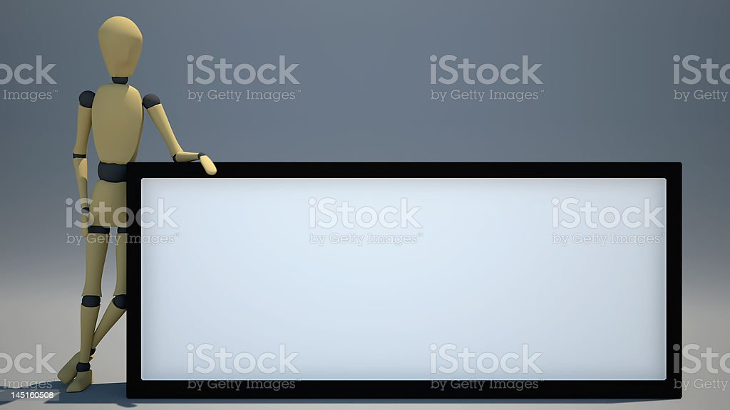 Puppet blank sign-Ad here royalty-free stock photo
