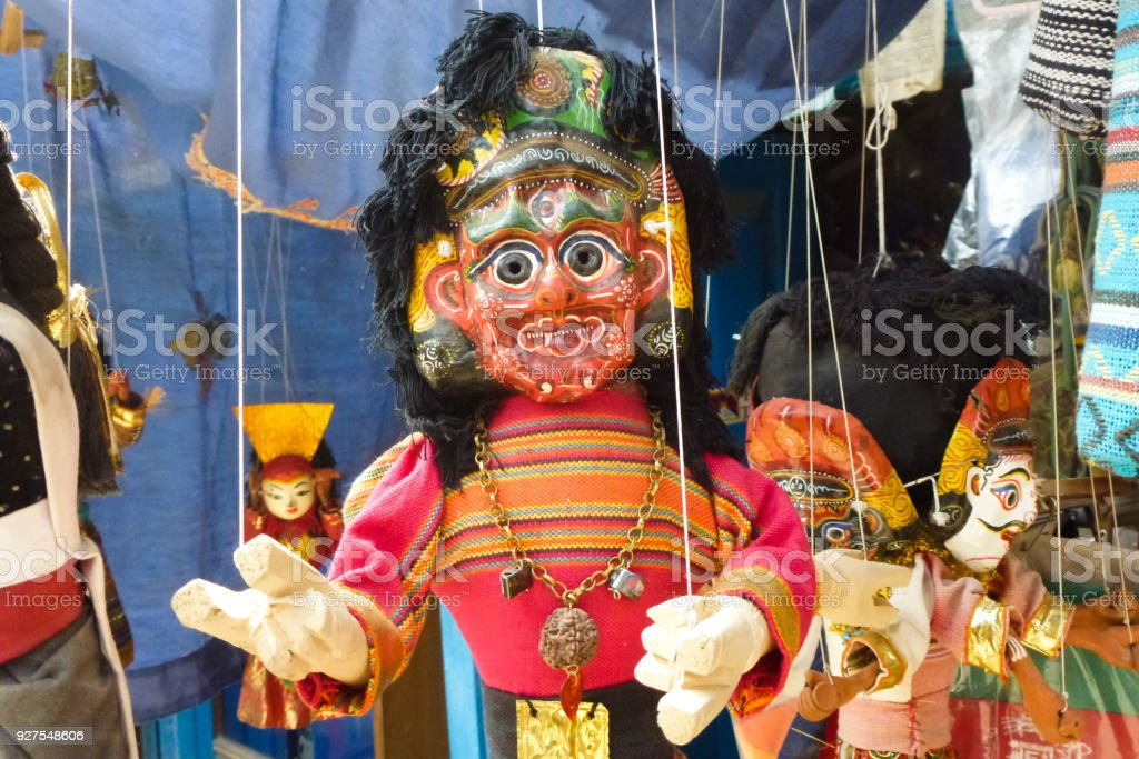 Puppet for sale at a street market Kathmandu, Nepal stock photo