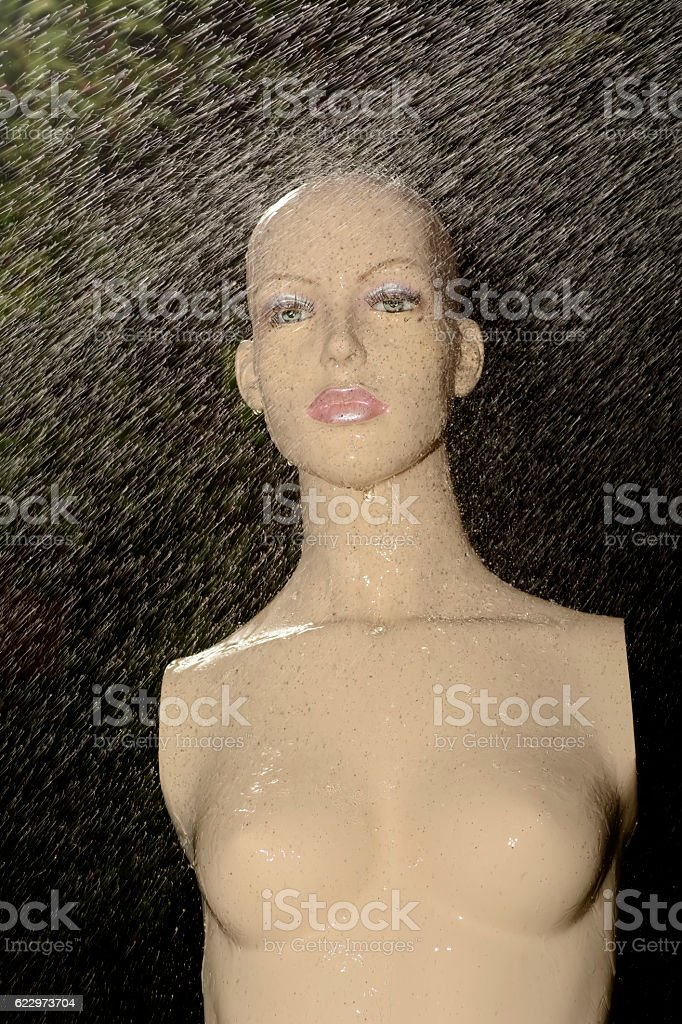 puppet in the rain stock photo