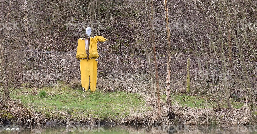 Puppet scarecrow in yellow top and trousers alongside a lake stock photo