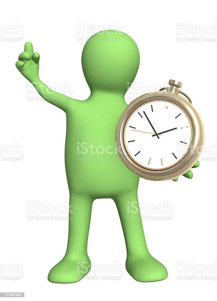 Puppet with clock royalty-free stock photo