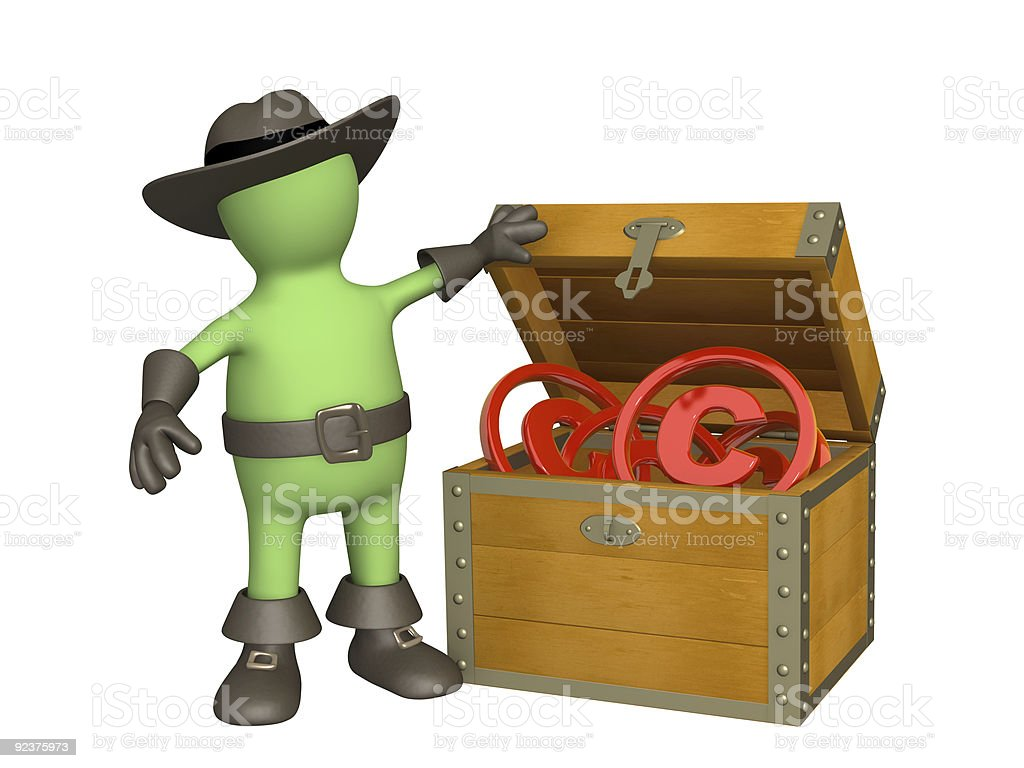 Puppet with copyright symbols royalty-free stock photo