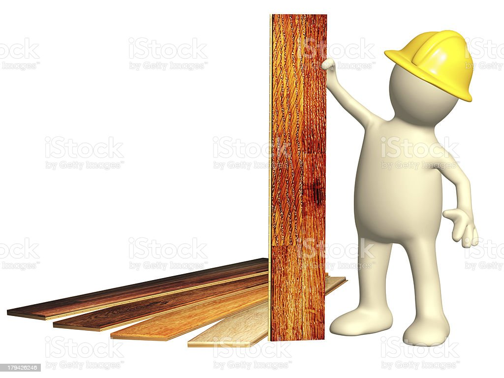 Puppet with new parquet planks royalty-free stock photo