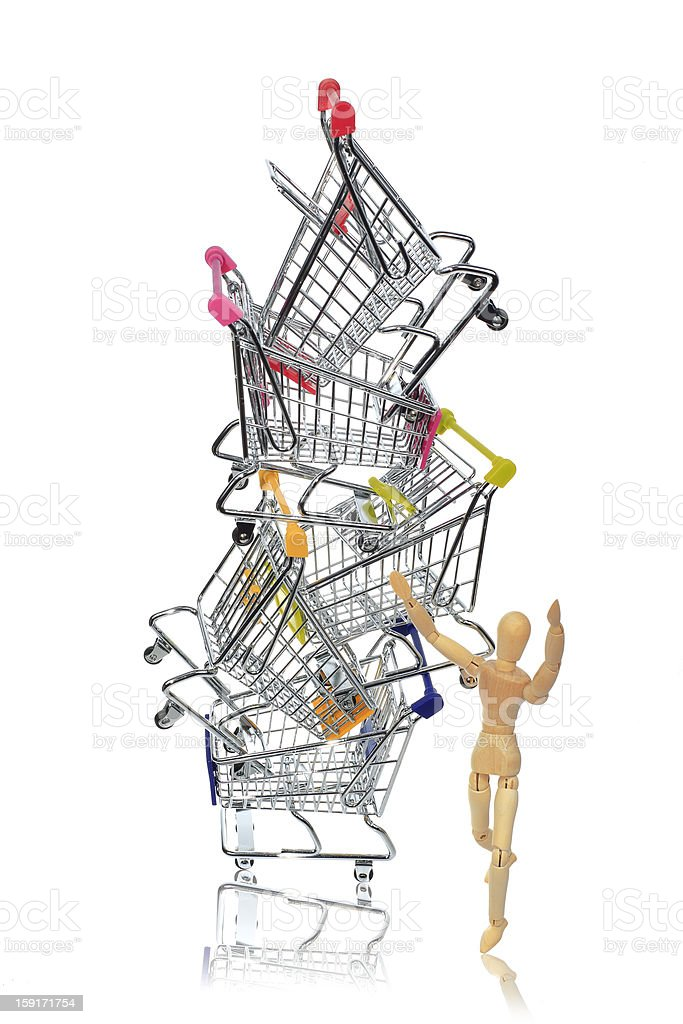 puppetry models pushing many shopping carts royalty-free stock photo