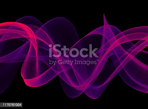 Puprle Wave Sound Ribbon Spiral Swirl Neon Ultra Violet Black Background Noise Veil Silk Curve Wind Chaos Abstract Psychedelic Wavy Texture Copy Space Design template for presentation, flyer, card, poster, brochure, banner
