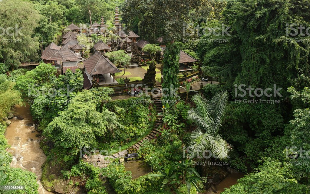 Pura Gunung Lebah Temple in Ubud Rainforest, Indonesia stock photo
