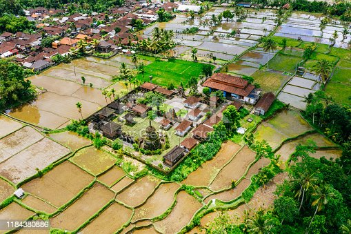 Aerial view of Pura Pegulingan Temple on Bali. Buddhist temple surrounded by rice fields.