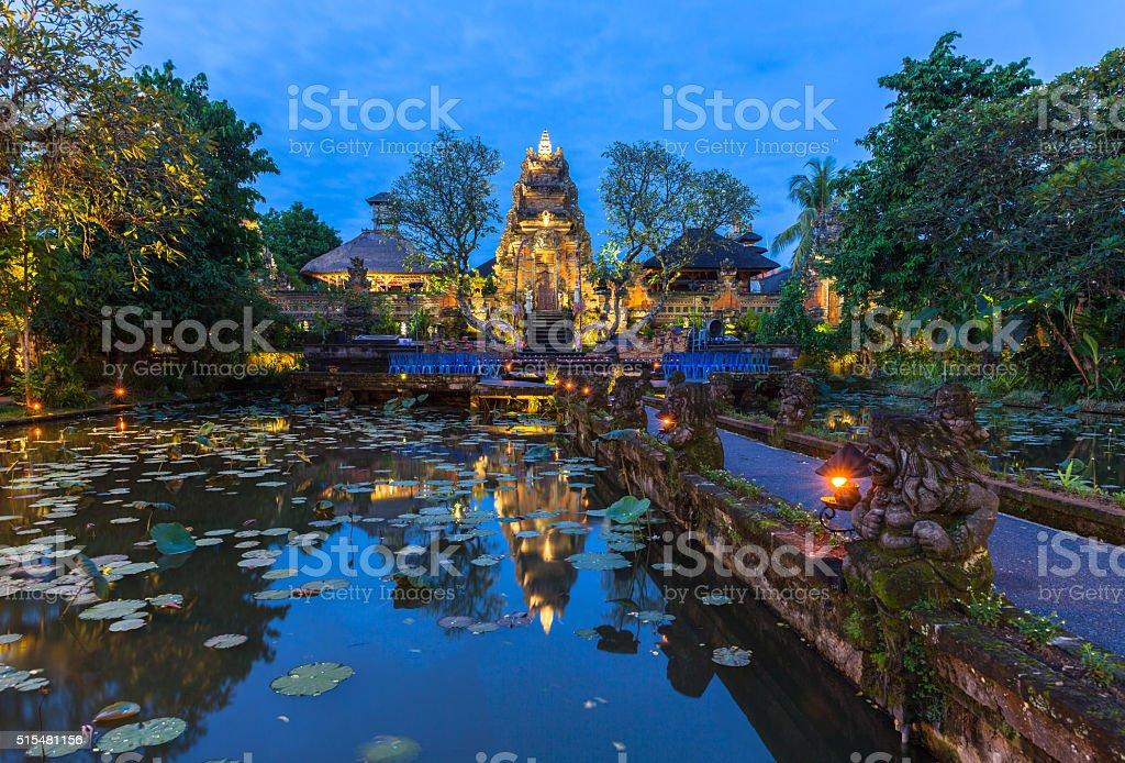 Pura Saraswati Temple at dusk, Bali royalty-free stock photo