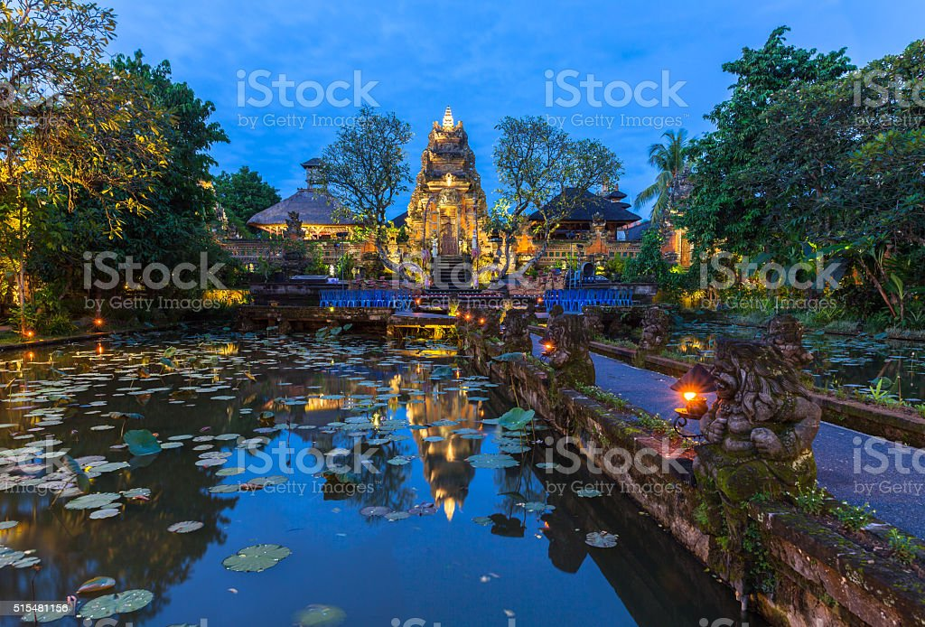 Pura Saraswati Temple at dusk, Bali stock photo