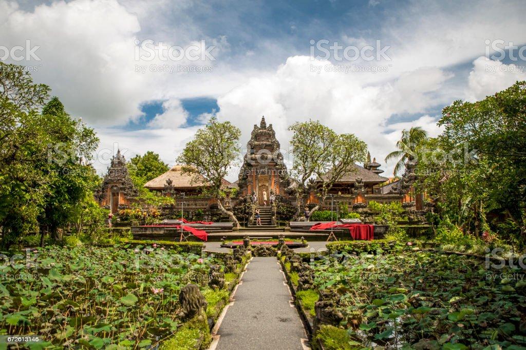 Pura Taman Saraswati temple stock photo