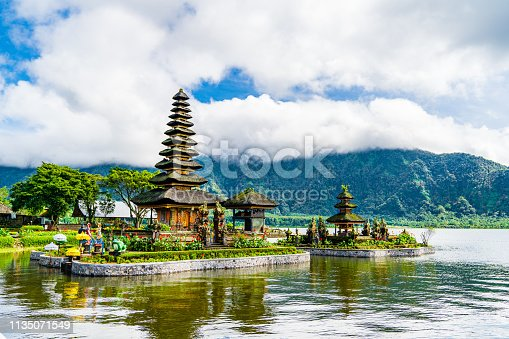 Pura Tunjung Beji Ulun Danu Beratan temple. Buddhist temple on the lake Beratan.