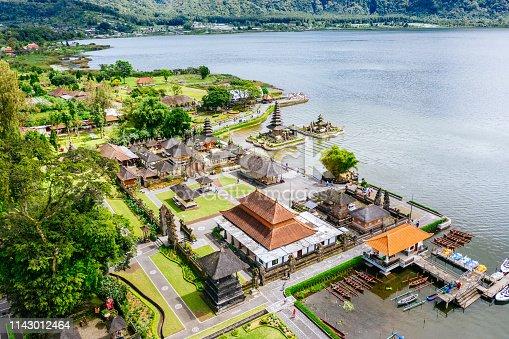 Pura Tunjung Beji Ulun Danu Beratan temple. Buddhist temple on the lake Beratan. Aerial drone shot.