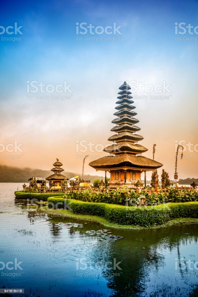 Pura Ulun Danu Beratan the Floating Temple in Bali at Sunset stock photo