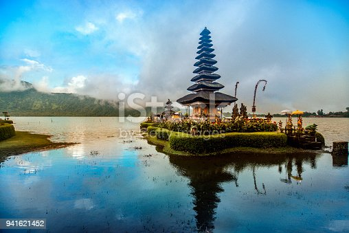 Pura Ulun Danu Beratan the Floating Temple in Bali at Sunset, Indonesia