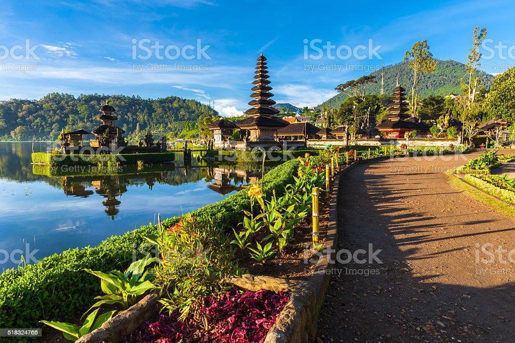 Pura Ulun Danu Bratan at sunrise, Bali, Indonesia royalty-free stock photo