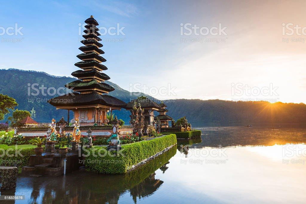 Pura Ulun Danu Bratan at sunrise, Bali, Indonesia stock photo
