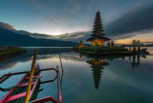 Pura Ulun Danu Bratan temple before sunrise stock photo