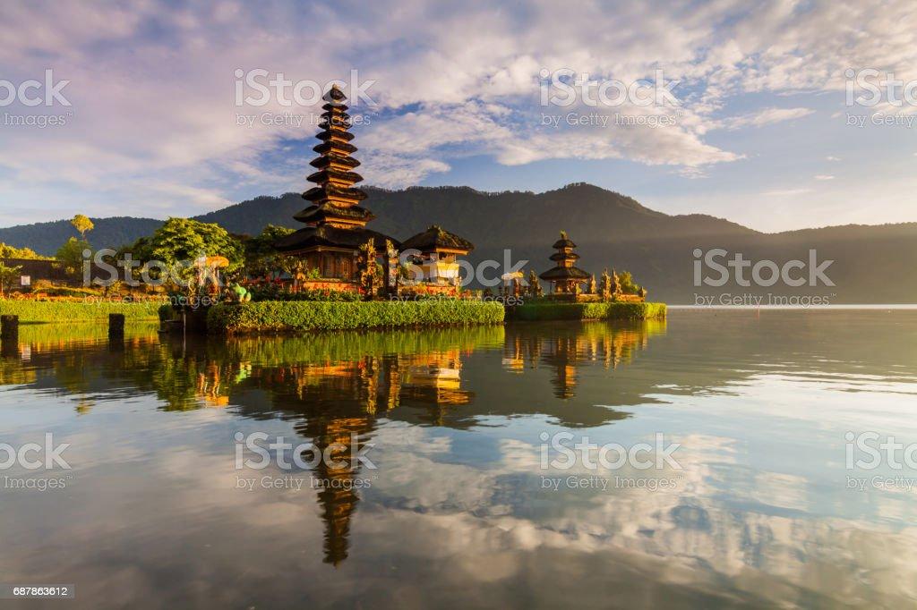Pura Ulun Danu Bratan temple in Bali island. Hindu temple in flowers on Beratan lake, Asia. stock photo