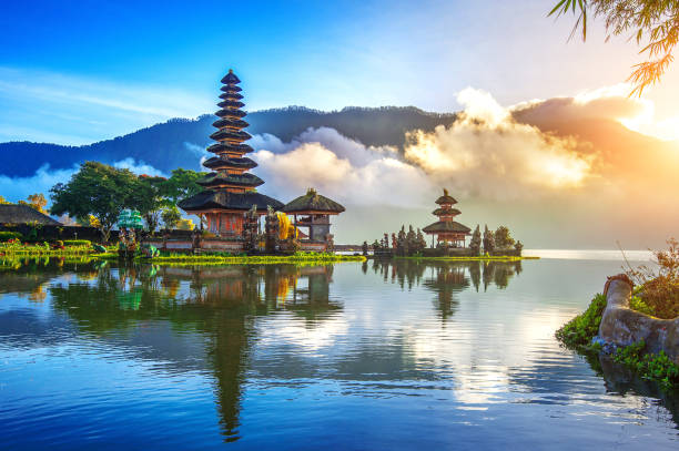 pura ulun danu bratan temple in Bali. stock photo