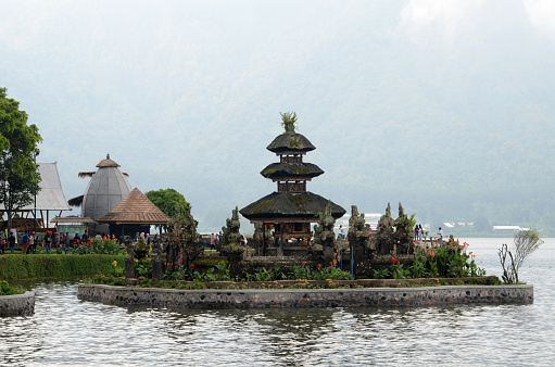 Bali, Indonesia- Feb 10, 2019: Pura Ulun Danu Bratan temple in Bedugul of Bali, Indonesia. It is a major Shaivite water temple