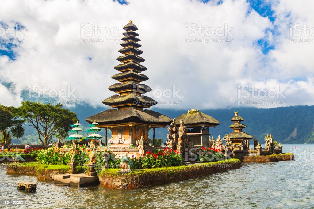 Pura Ulun Danu Bratan. Temple on lake. Bali, Indonesia. stock photo