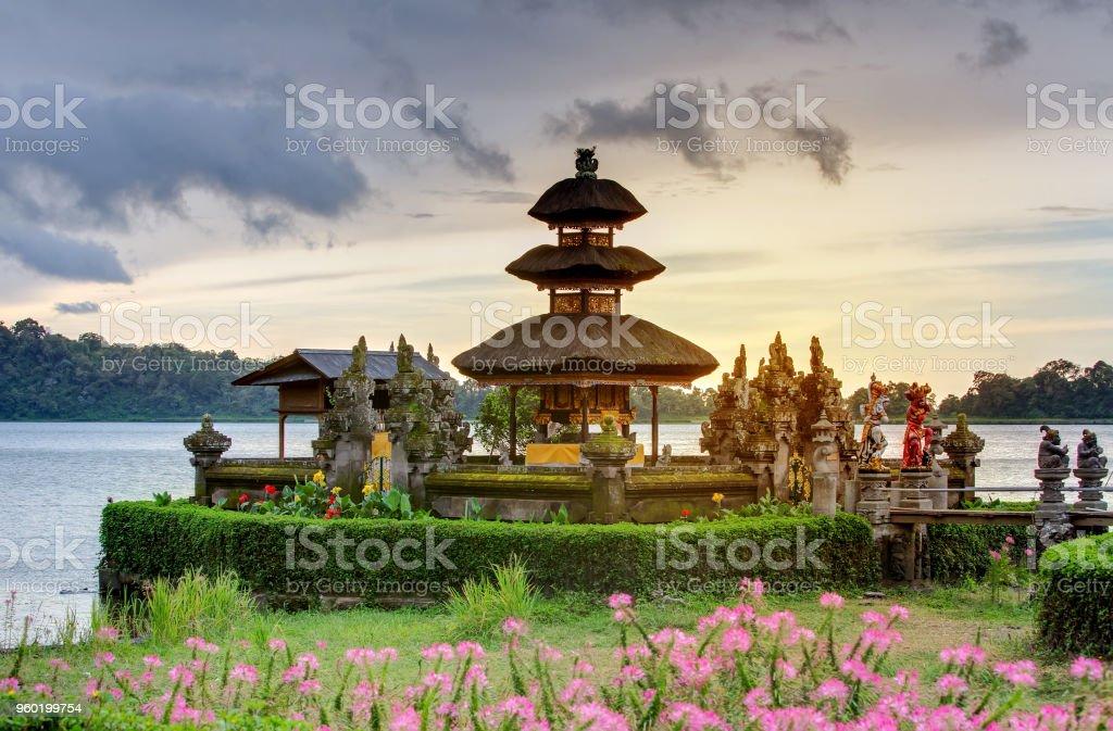 Pura Ulun Danu Bratan temple on the Bratan lake, Bali, Indonesia stock photo