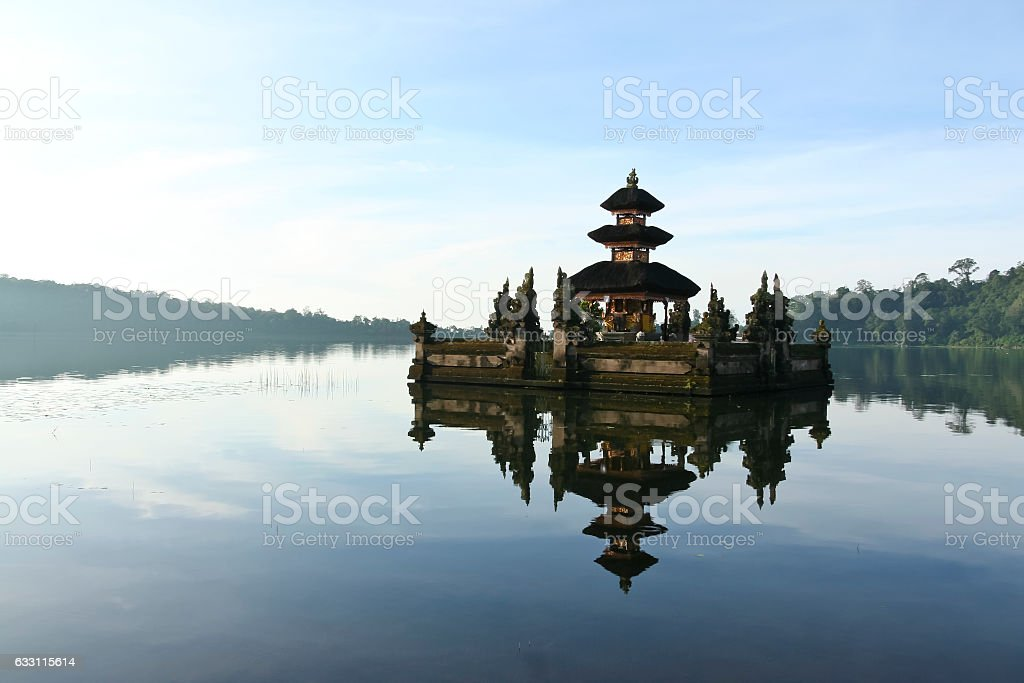 Pura Ulun Danu water temple lake brataan bali stock photo