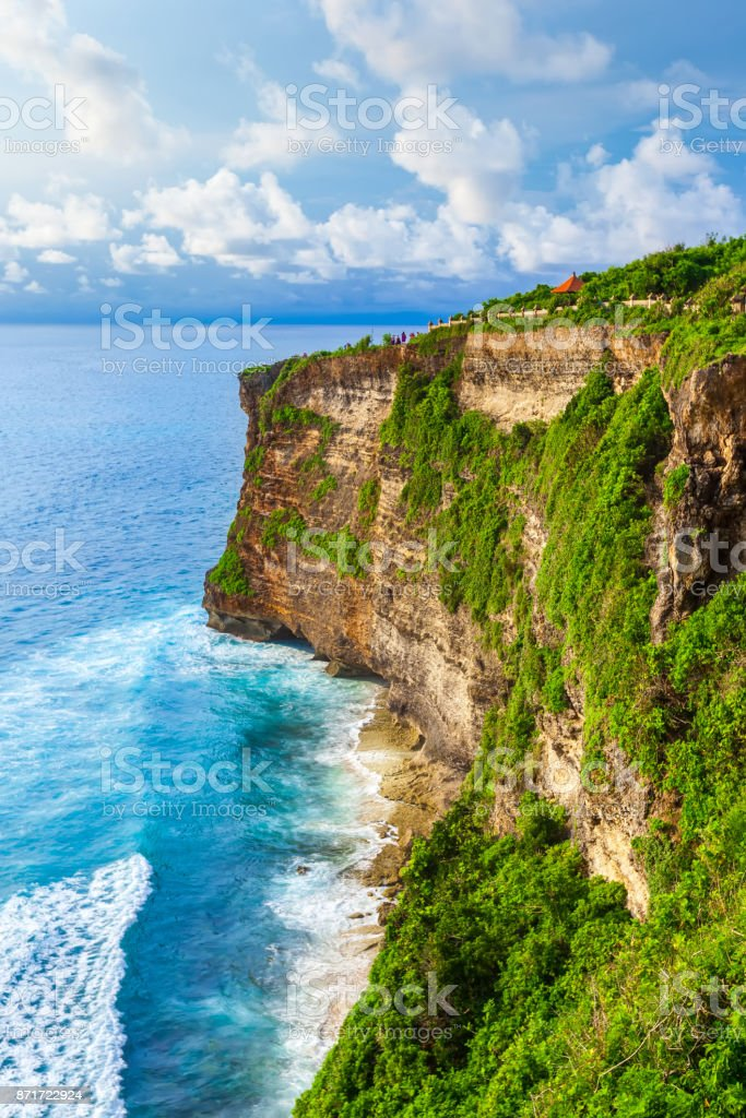 Pura Uluwatu viewpoint, vertical frame, Bali, Indonesia. stock photo
