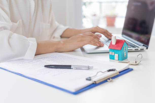 Purchase agreement for new house stock photo