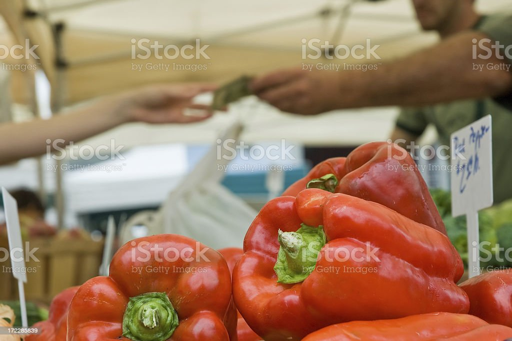 Purchase at the Farmers' Market royalty-free stock photo