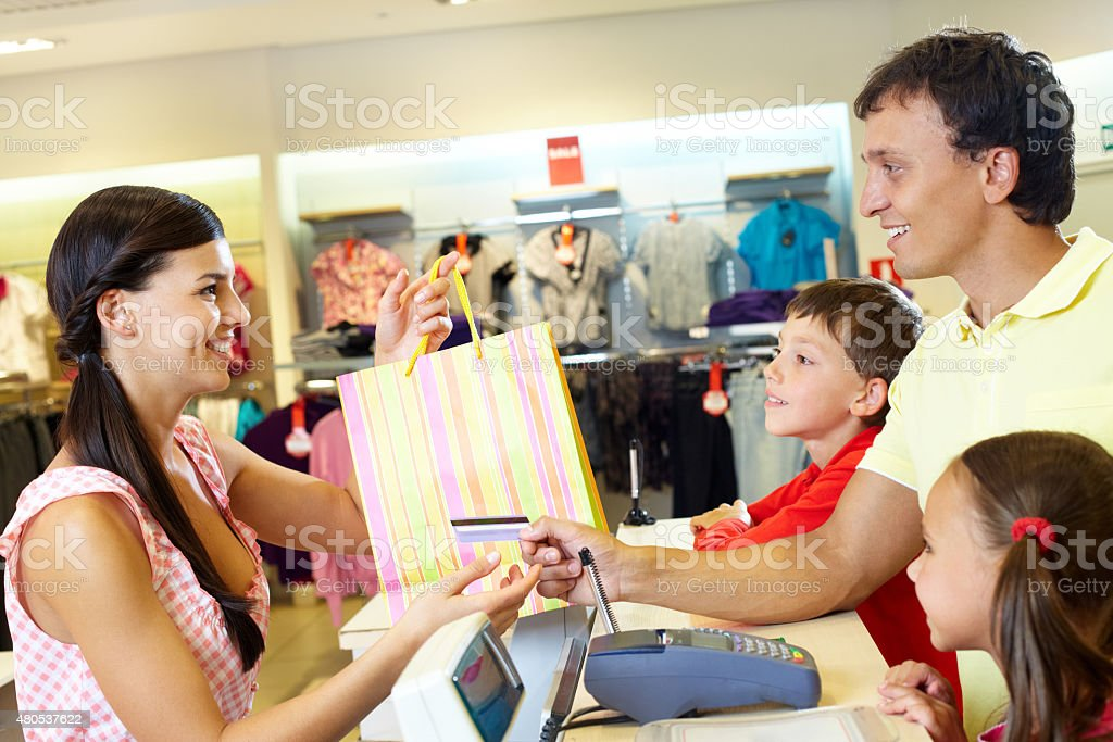 Purchase for children stock photo