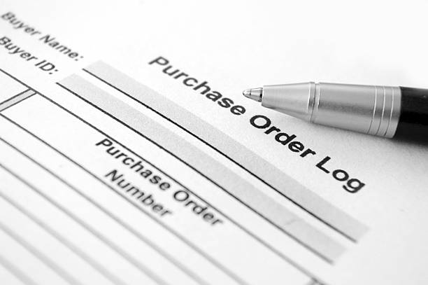 Purchase order Log document stock photo