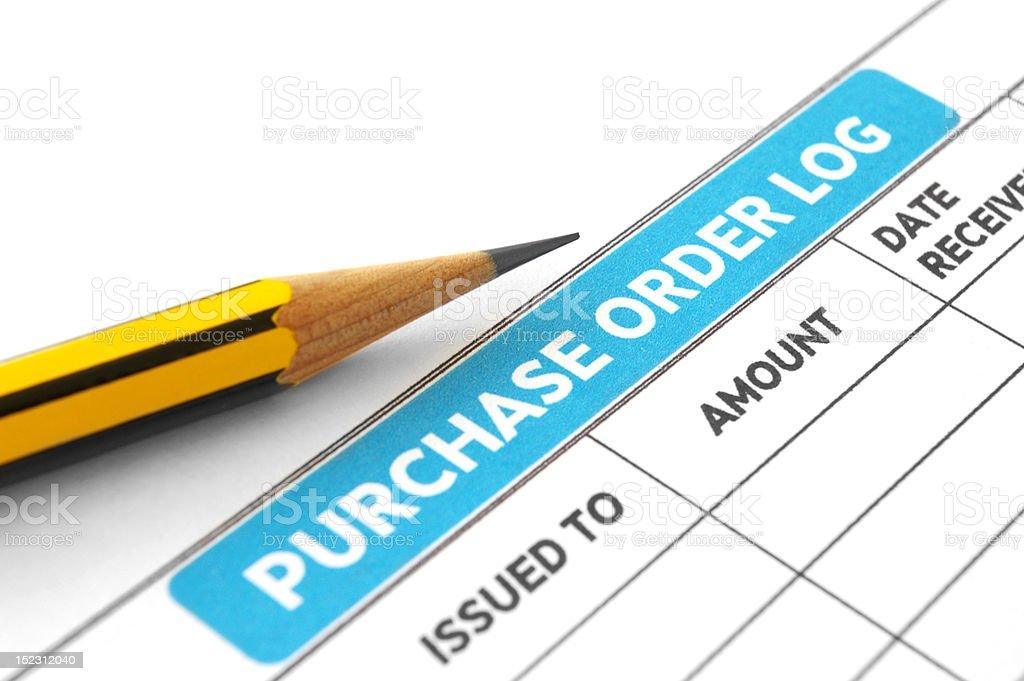 Purchase order log stock photo