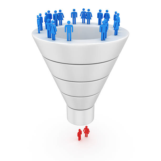 purchase process - sales funnel stock photos and pictures