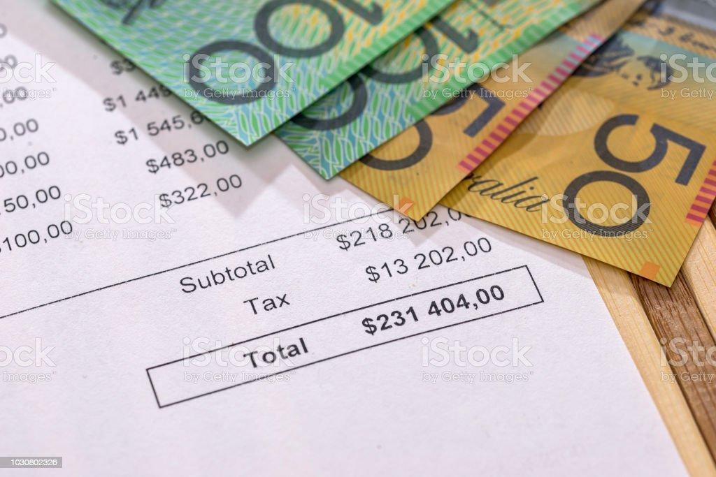 Purchasing order with australian dollar banknotes closeup stock photo