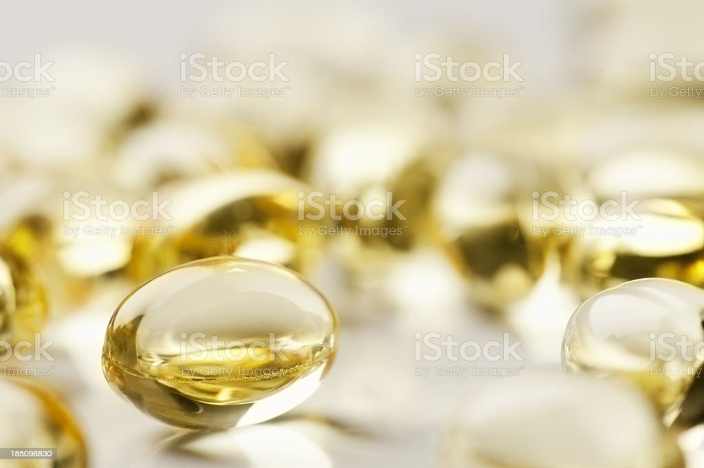 Pure cod liver oil capsules with copy space royalty-free stock photo