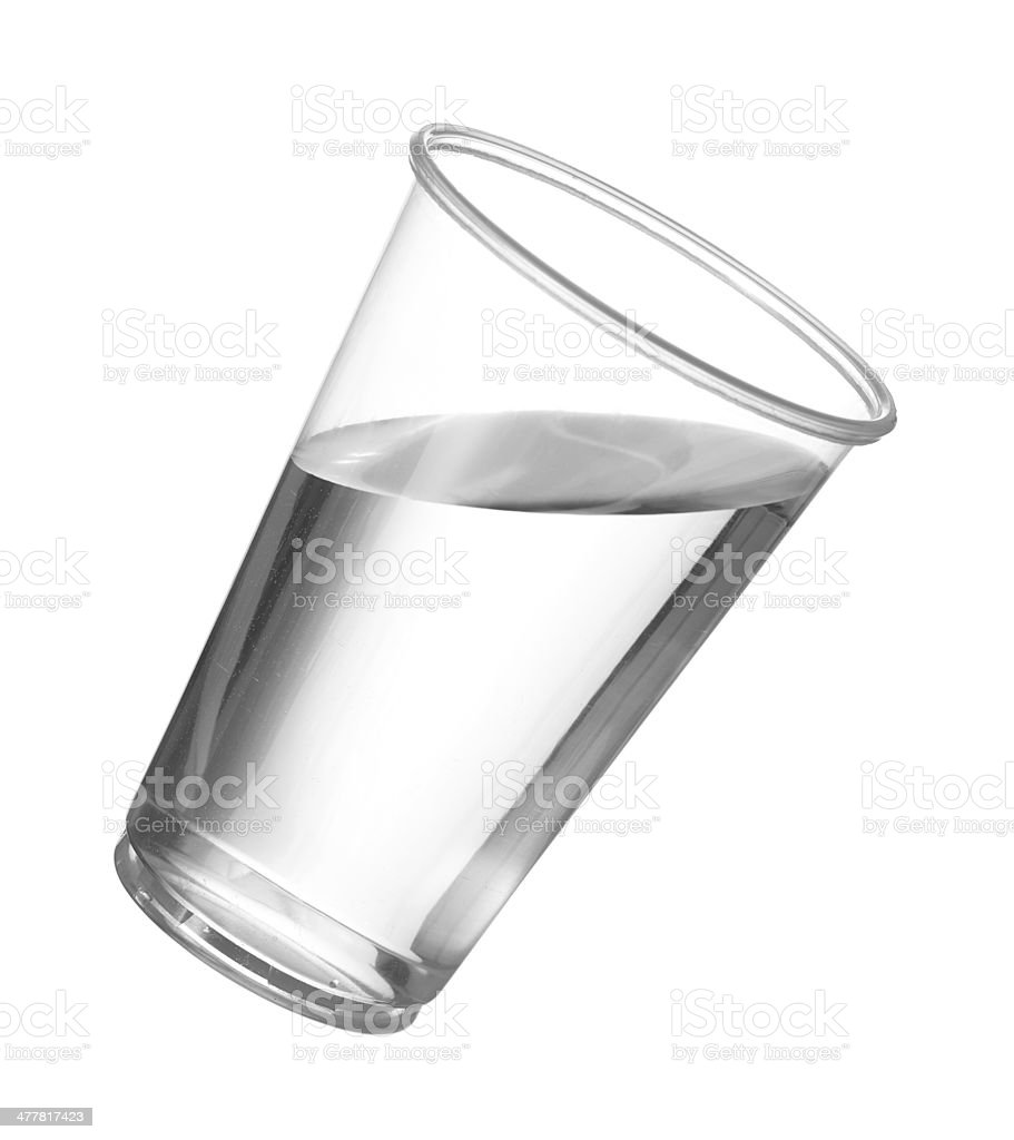 Pure drinking water in disposable plastic cup stock photo